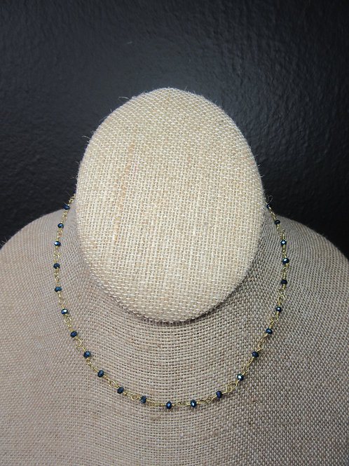 Blue Wire Wrapped Glass Bead Necklace/Choker