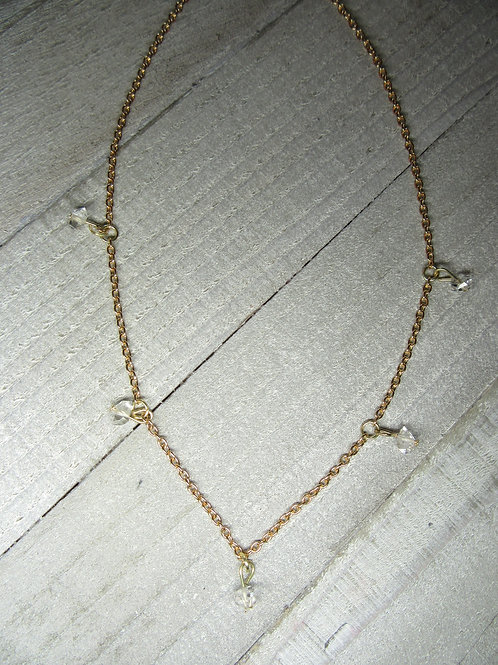 Herkimer Diamond Gold Color Chain Necklace