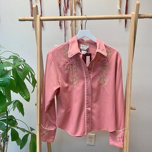 Peachy Pink Western Shirt | Size M