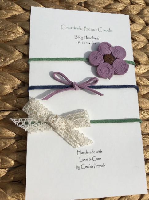 Suede green, blue and purple flower headband set