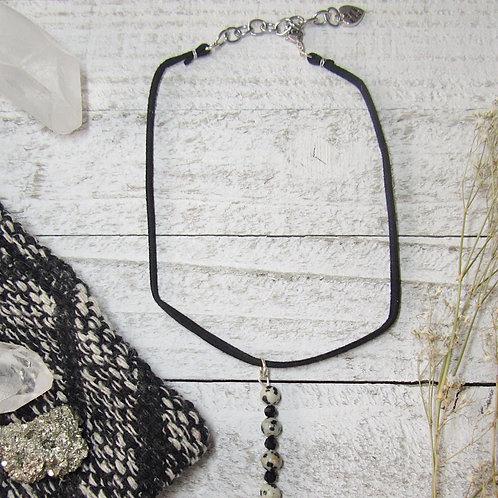 Vertical Dalmatian Jasper Faux Suede Necklace/Choker
