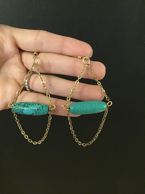 Real turquoise faux gold chain earrings