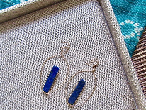 Sodalite Gold Hoops