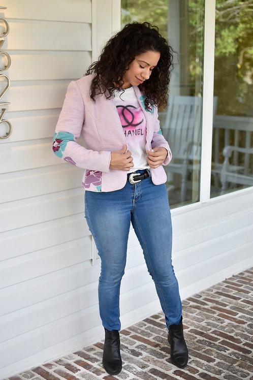 Vintage Blush Floral Quilted Blazer