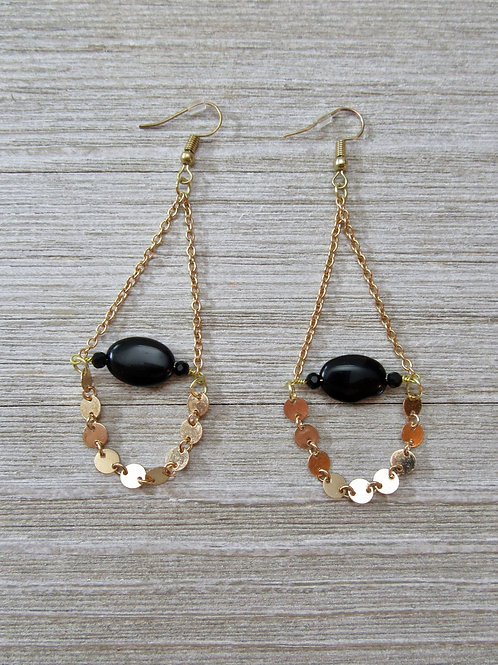 copy of Gold Color Multi-chain Black Onyx Earrings