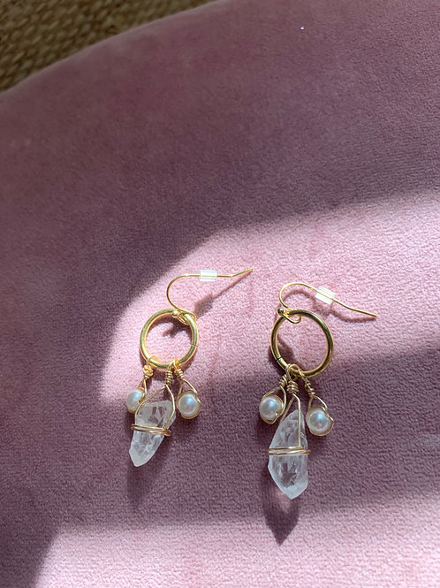 Clear Quartz and Faux Pearl Earrings