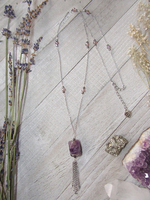 Amethyst Stainless Steel Dangle Long Necklace