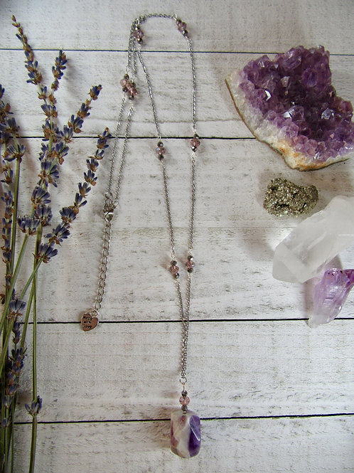 Amethyst Stainless Steel Long Necklace