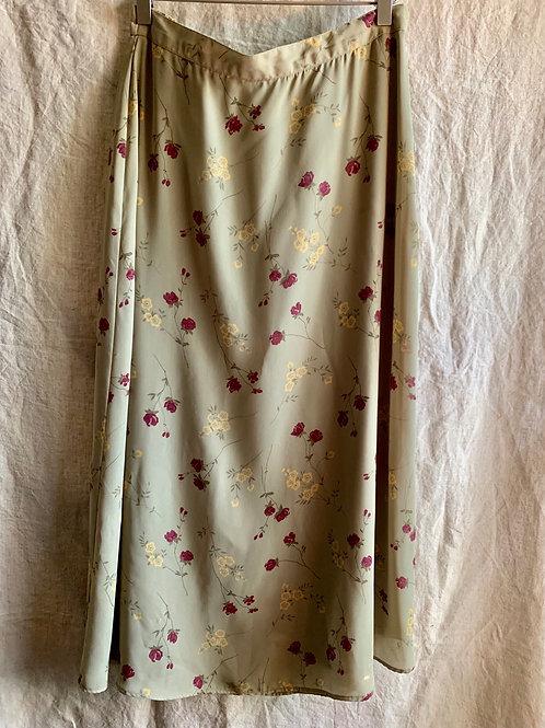 Vintage Olive Floral Midi Skirt | Size 10