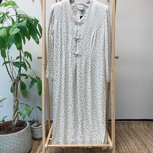 Cream Animal Print Long Jacket   Size L