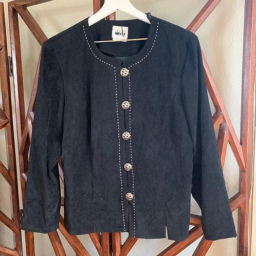 Vintage Black Faux Suede Shirt Jacket | Size M