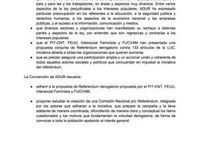 Resolución del Consejo Federal Ampliado sobre Referéndum LUC