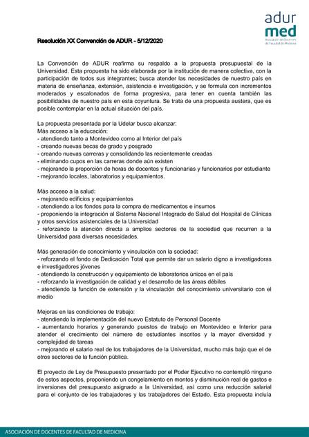 Resoluciones de la XX Convención de ADUR