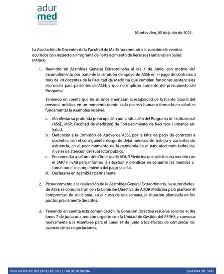 Resolución de la Asamblea General Extraordinaria