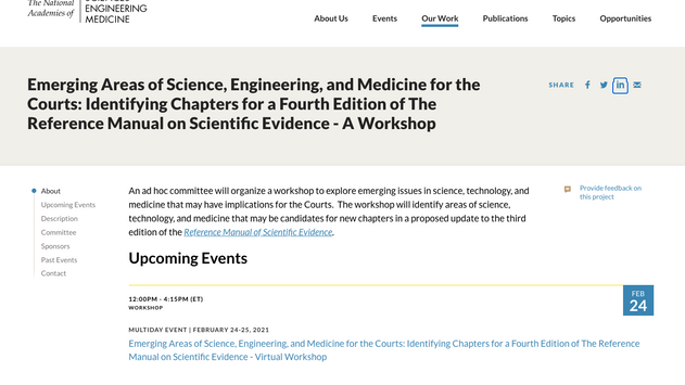This Week - Planning Underway for Fourth Edition of the Reference Manual on Scientific Evidence