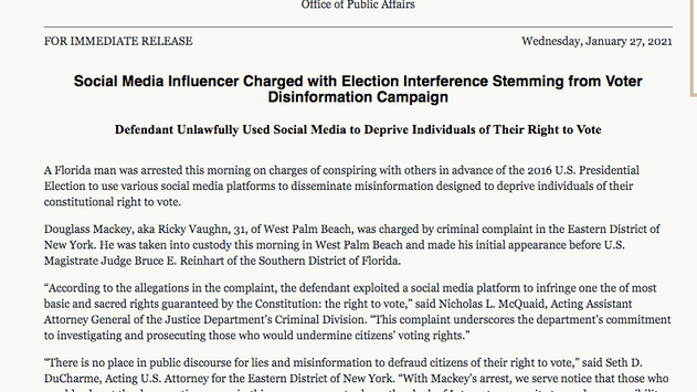"""""""The Justice Department is Prosecuting an American for Election Interference—in 2016"""""""