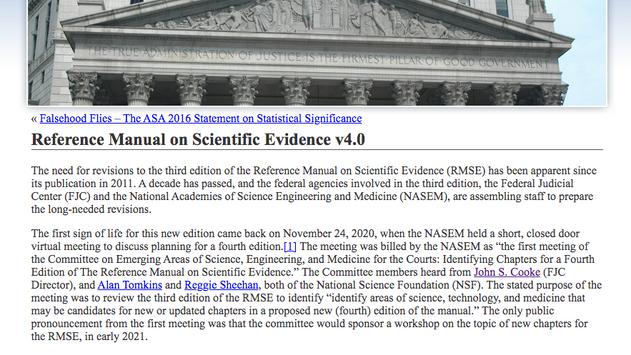 Cogent Summary - Workshop on Reference Manual on Scientific Evidence v4.0