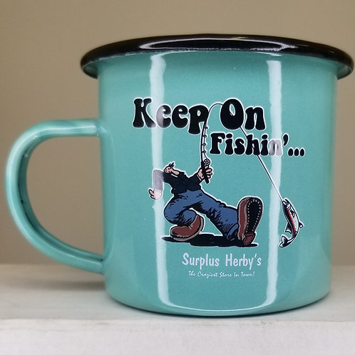 Enamel Mug Keep on Fishin'