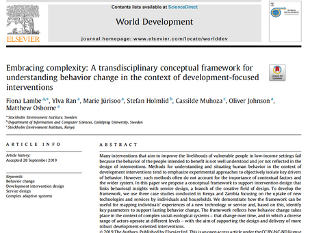 A transdisciplinary conceptual framework to understand behavior change in development interventions