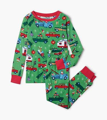 Retro Christmas Kids Pajama Set GREEN