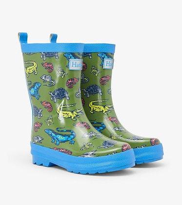 HATLEY Aquatic Reptiles Shiny Rain Boots