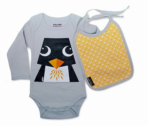 Coq en Pate - Penguin Long Sleeve Onesie With Bib 3-6 mnth