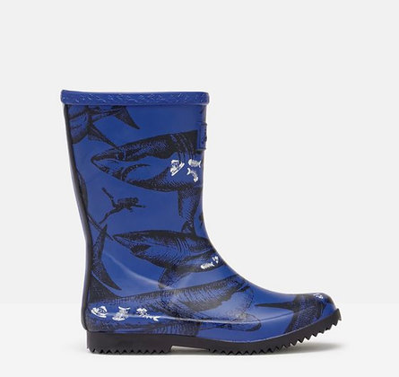 Roll up Flexible Printed Welly by Joules  BLUE ETCHED  SHARKS -GLOW IN THE DARK!