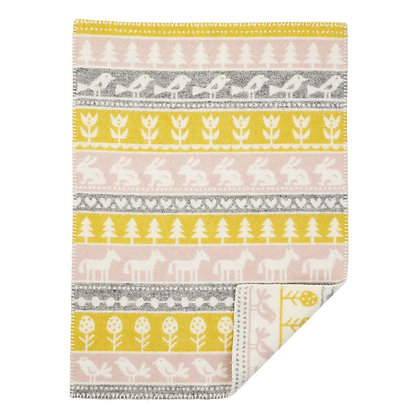 KLIPPAN  ECO LAMBS WOOL BLANKET yellow/pink