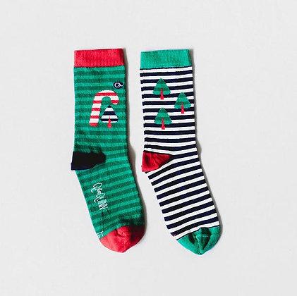 Q FOR  QUINN Organic Adult Socks - Candy Cane Christmas