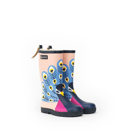 AIGLE Woodypop Fun Rubber Boots  Peacock