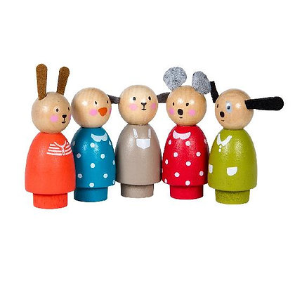 Grande Famille - play - characters (set of 5)  By Moulin Roty