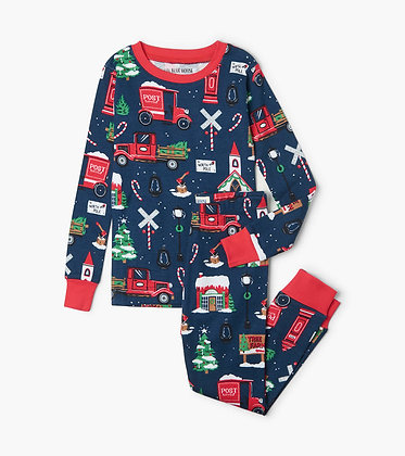Christmas Village Kids Pajama Set NAVY