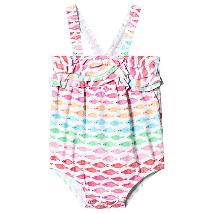 HATLEY WATERCOLOUR FISHIES BABY SWIMSUIT 18-24M
