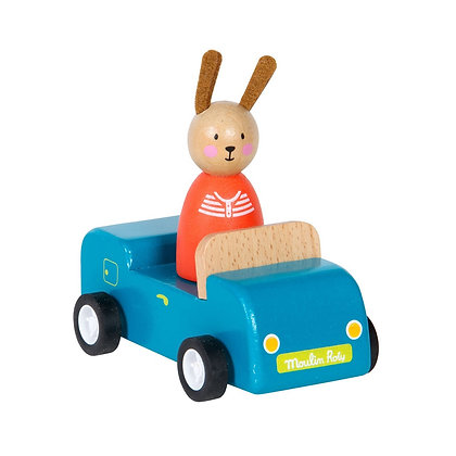 Grande Famille - play - car, blue with Sylvain  By Moulin Roty.