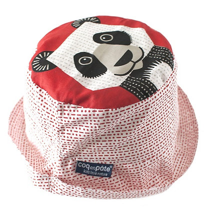 Red panda sun hat, 100% organic cotton 6-18 MONTHS