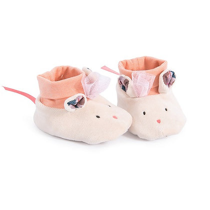 Mouse Slippers (0-6 mnths) By Moulin Roty
