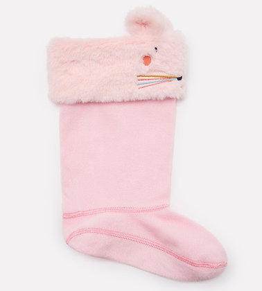 JOULES WARM WELLY SOCKS / PINK MOUSE