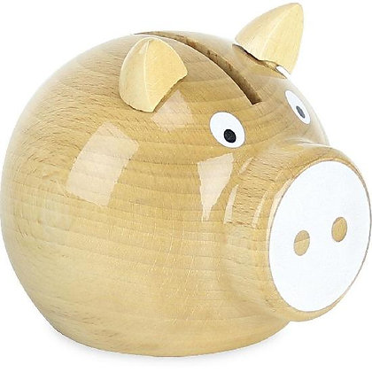 Money Box - Pig, Natural and White By Vilac