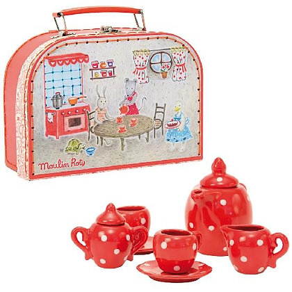 Grande Famille - Red ceramic tea set By Moulin Roty