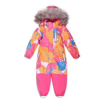 KUOMA one-piece snowsuit ORANGE/PINK