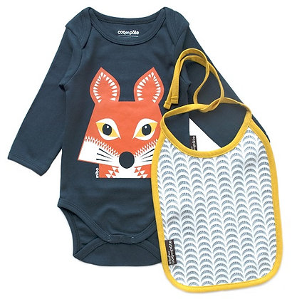 Coq en Pate - Fox Long Sleeve Onesie With Bib 9-12  mnth