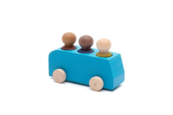 Bus Turquoise with 3 Figures  By Lubulona