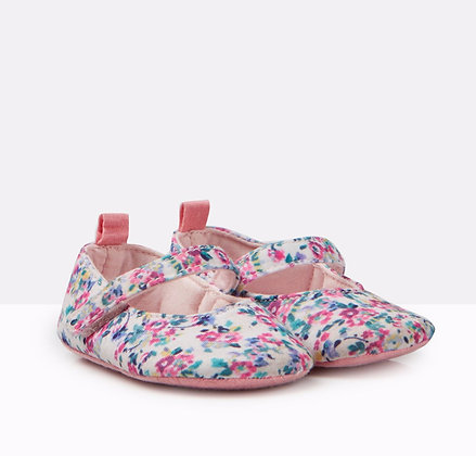 JOULES LITTLETON PRAM SHOES / WHITE DITSY