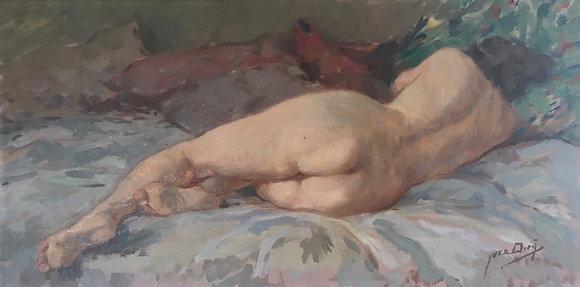 Huile sur toile Nu Féminin signé Yves Diey 80x40
