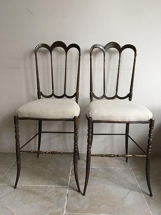 Paire chaises Chiavari en laiton