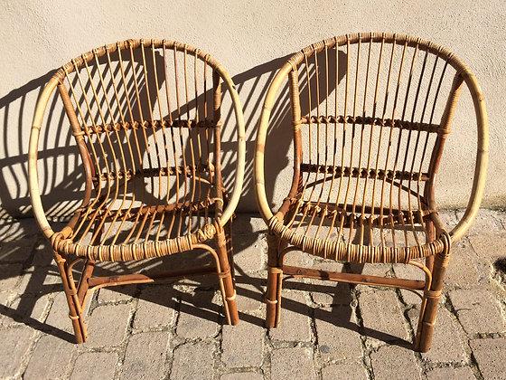 Paire de fauteuils rotin