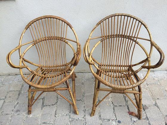 Paire fauteuils rotin Années 50