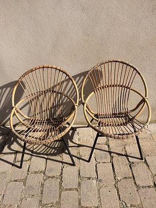 Paire fauteuils métal et rotin