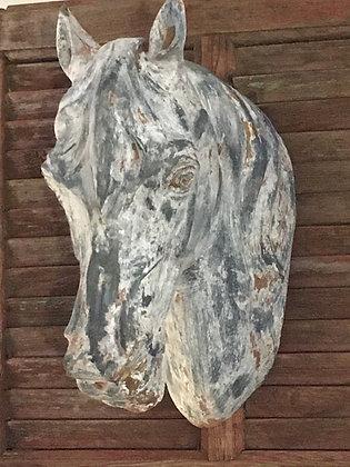 Ancienne tête de cheval en zinc
