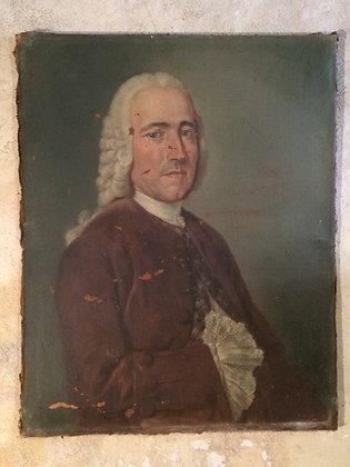 Portrait d'homme Huile sur toile XVIII ème